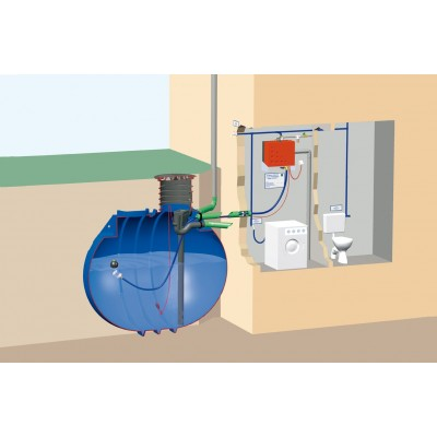 Zestaw domowy na wodę deszczową z filtrem przepływowym i zbiornikim BlueLine II